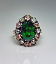 Russian/demantoid garnet/diamonds