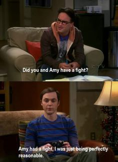 Did you and Amy have a fight? amy had a fight. i was just being perfectly reasonable. LMAO the big bang theory quotes