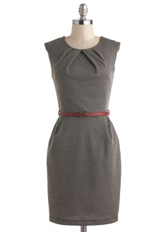 Cross The Byline Dress in Roving Reporter - Mid-length, Solid, Belted, Work, Sheath / Shift, Sleeveless, Crew, Black, Pleats, Variation