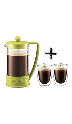 Prensa y 2 tazas de cristal de doble pare, el combo perfecto! Este y más productos para tu café en cafedelola.com