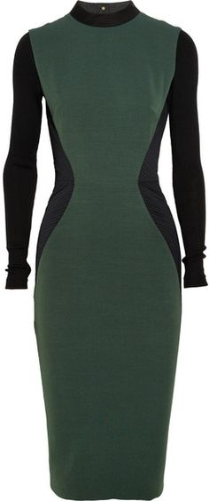 VICTORIA BECKHAM   Twotone Ribpaneled Silk and Woolblend Dress