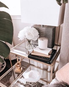 Bedroom inspo, bedroom table, side table, night table, nightstand, nightstand inspo, glass nightstand, gold nightstand