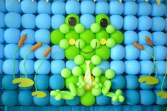 Cute balloon backdrop at a Frog Party.  See more party ideas at CatchMyParty.com. #frogpartyideas