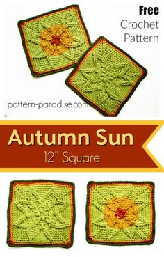 Free Crochet Pattern: Autumn Sun Crochet Square | Pattern Paradise