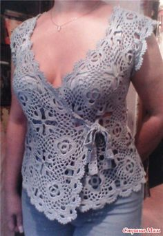 Great summer wrap top…see pattern - square motifs join as you go - see layout….