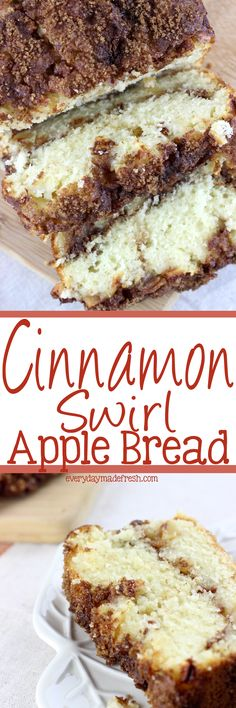 Fresh apples and a ribbon of cinnamon and brown sugar make this a tasty fall favorite. This Cinnamon Swirl Apple Bread is packed with flavor! | EverydayMadeFresh.com http://www.everydaymadefresh.com/cinnamon-swirl-apple-bread/