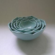 Five Ceramic Nesting Lotus Bowls in Robin Egg Blue