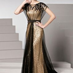 Charming custom made crew neck  prom dresses  cap sleeves beaded layer sequins evening dresses long chiffon party gowns plus size maxi dress 2015