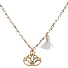 Vintage Tassel Lotus Flower Pendant Necklace ($2.83) ❤ liked on Polyvore featuring jewelry, necklaces, flower jewelry, tassel pendant necklace, blossom jewelry, flower jewellery and pendant necklaces