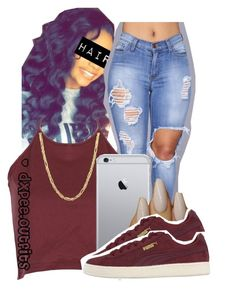 """""""belong to the city✨ ;081016"""" by dxpe-outfits ❤ liked on Polyvore featuring WithChic, Everlasting Gold and Puma"""