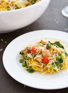 #whole30 #Paleo  Spaghetti Squash with chicken recipe, super easy to make paleo or whole 30 by omitting the cheese... I'd add spinach though!