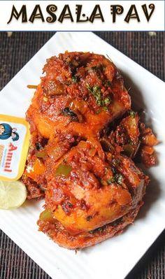 Masala Pav Recipe - Mumbai Street Food Style Masala Pav Recipe - My list of the best food recipes Thai Street Food, Mumbai Street Food, Japanese Street Food, Indian Street Food, Veg Recipes, Indian Food Recipes, Vegetarian Recipes, Cooking Recipes, Indian Snacks