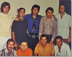 Elvis Presley's Nashville Marathon: June 4-8, 1970: top: David Briggs, Norbert Putnam, Elvis Presley, Al Pachuki, Jerry Carrigan; bottom: Felton Jarvis, Chip Young, Charlie McCoy, James Burton.This focus led to some of the finest recordings of Elvis' career, including hits such as 'Suspicious Minds', 'In the Ghetto' and 'Kentucky Rain', and two impressive albums in 'From Elvis in Memphis' and 'Back in Memphis'.