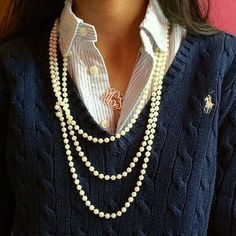 For a polo and pearls kind of girl! Classically preppy, especially with the added monogram necklace! Mode Outfits, Fashion Outfits, Womens Fashion, Diy Outfits, Dress Fashion, Fall Winter Outfits, Autumn Winter Fashion, Summer Outfits, Estilo Preppy