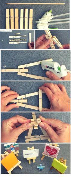 Caballete en miniatura con pinzas de madera de tender la ropa https://youtu.be/M_xOhJ7mtW0