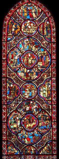 the prodigal son, rose window at Bourges Cathedral
