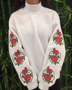 f4a47fd2022 white sweatshirt with sleeve rose embroidery boogzel apparel Sweater  Hoodie