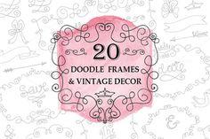 Doodle swirling frames.Vintage set by Tatiana Kost design on Creative Market