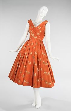"""Carolyn Schnurer (American, 1908–1998)   'Sitting Duck' dress, 1951   Orange cotton & metallic brocade ducks   Textile by Hollander   From the """"Flight to Japan"""" collection in homage to Japanese artist, Insho Domoto   (www.metmuseum.org)"""