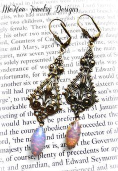 Opal fire Navette and brass drop earrings. McKee Jewelry Designs #mckeejewelrydesigns  #andriamckee