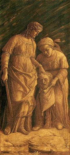 Andrea Mantegna Padua 1431 – Mantua 1506 Judith with the Head of Holofernes About 1500 Tempera and gold on linen canvas Montreal Museum of Fine Arts Judith And Holofernes, Andrea Mantegna, Montreal Museums, Renaissance Paintings, Italian Painters, Old Testament, Museum Of Fine Arts, Oeuvre D'art, Archaeology