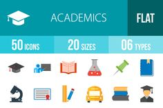50 Academics Flat Multicolor Icons ~ Icons on Creative Market