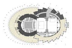 Gallery of In Progress: Wuzhen Theater / Artech Architects - 24 - In Progress: Wuzhen Theater / Artech Architects,drawing 03 - Bubble Diagram Architecture, Theatre Architecture, Concept Architecture, Origami Architecture, Architecture Models, Auditorium Plan, Auditorium Design, Architect Drawing, Architect Design