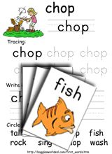 Consonant Digraphs Sample Resource: fish and chop www.bogglesworldesl.com has lots of word work activities from sight words on up!