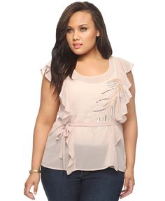 Plus Size Ruffled Sequined Branch Top  $27.80