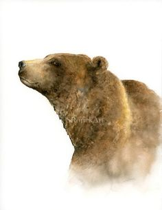 Bear Watercolor Print, Wildlife Art Nature Lover Gift, Man Cave Rustic Wall Decor, Woodland Animal Artwork for Den, Office Wall Art Grizzly bear watercolor print by SRorickArtGrizzly bear watercolor print by SRorickArt Bear Paintings, Watercolor Paintings, Watercolors, Forest Animals, Woodland Animals, Woodland Nursery, Bear Watercolor, Watercolor Animals, Bear Print