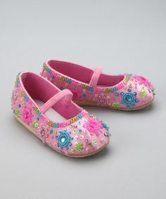 Take a look at this Pink Floret Sparkle Flat - Toddler & Girls by Fairy Dreams on #zulily today!