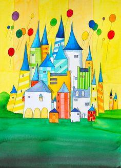Michael Basler: City 3, Watercolor
