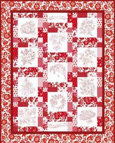 "Quilt Patterns For Beginners | Free Quilt Pattern: ""Redwork Garden"" by RJR Fabrics – FabTalk ..."