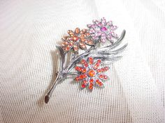 Bon Ton Aster Flower Brooch Pin with Pretty Rhinestones and Dark Silver tone NEW #BonTon Seller florasgarden on ebay