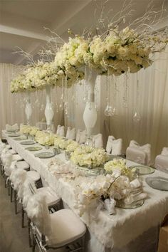 Wedding Table Floral Centerpieces Styled by Preston Bailey Wedding Table Centerpieces, Reception Decorations, Event Decor, Centrepieces, Centerpiece Flowers, Luxury Wedding, Elegant Wedding, Dream Wedding, Preston Bailey