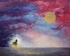 acrylic painting of standing horse in abstracted landscape
