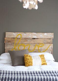 "Reclaimed wood ""love"" headboard"