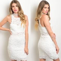 Sleeveless White Lace Appliqué Lined Dress New with tags. White sleeveless lace appliqué dress with partial lining. This dress is very fitted so if in between sizes, or want a more relaxed fit, may want to go up a size. Available in S, M, and L.                                                                                        60% polyester, 40% nylon.                                          PRICE IS FIRM UNLESS BUNDLED.                        ❌SORRY, NO TRADES. Boutique Dresses Wedding