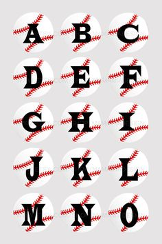 Baseball Alphabet for making bottle cap necklaces, hair bow centers, team stickers, etc. Would make a great gift from coach to players.