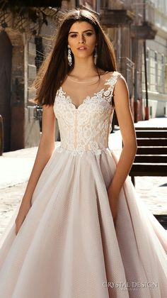 12b9f5d6c13d1 crystal design bridal 2016 sleeveless illusion round neckline v neck lace  embellished bodice gorgeous princess ball gown wedding dress chapel train  (avrora) ...