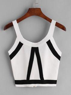 Top court tricot rayé - Blanc