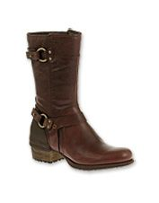 Enjoy solid footing and style in a pair of mid-height leather boots for women.