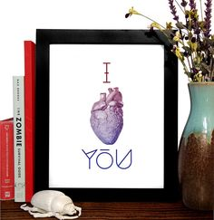 I Heart you Anatomical Heart Vintage Engraving by StayGoldMedia