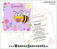 Invitatie de Botez Model IG063   4 variante de invitatii http://invitatii-marturii.weddingservices4u.ro/invitatii-botez-model-ig063/  Invitatie cu Bebe Albinuta