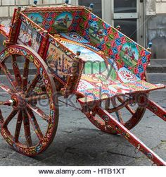 Sicilian cart, art, painting wooden, a typical. - Stock Photo