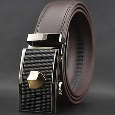 Mens Stunning Designer Leather Belt With Automatic Buckle (2 Colours)