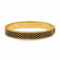 Buy Black Halcyon Days Gold Plated Enamel Salamander Bangle from our Women's Bracelets range at John Lewis & Partners. Gold Bangle Bracelet, Gold Bangles, Jewelry Bracelets, Black Gold Jewelry, Black Jewelry, Gold Jewellery, Bridal Jewelry, Halcyon Days, Navy Gold