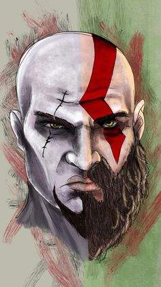 Ive been watching my bf play God of War and decided to draw a side-by-side of Kratos from the last two games. Marvel Wallpaper, Cool Wallpaper, Kratos God Of War, Horror Photography, Small Canvas Art, Unique Faces, Weird World, Tattoo Designs Men, Body Art Tattoos