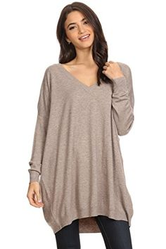 A+D® Womens Basic Oversized V-Neck Sweater Pullover Tunic (Mocha, Small/Medium)