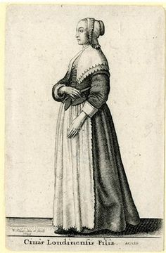 A young woman of London walking in profile to left, her right arm bent and hand on her waist; wearing a lace-trimmed cap, shoulder wrap and apron with scalloped edge; first state, before English title added.  1643  Etching and engraving
